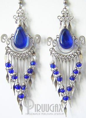 BLUE PARADISE Murano Glass Silver Chandelier Earrings