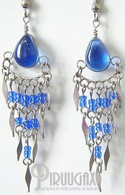AMAZON RAIN Murano Glass Silver Chandelier Earrings