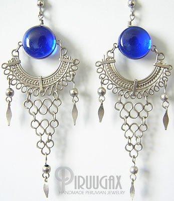 BLUE STREAM  Murano Glass Silver Chandelier Earrings