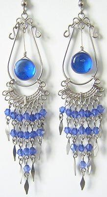 ANGELIC Murano Glass Silver Chandelier Earrings