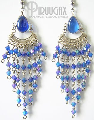 MYSTICAL BLUE Murano Glass Silver Chandelier Earrings