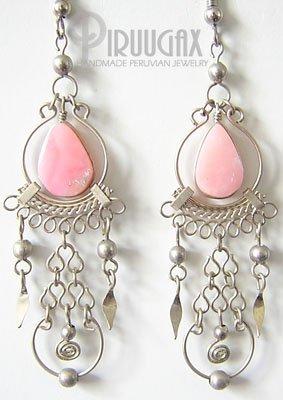 HARMONY Pink Opal Silver Chandelier Earrings
