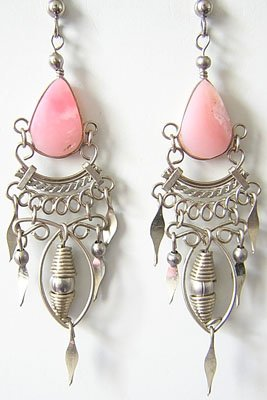 SPRING FLOWERS Pink Opal Silver Chandelier Earrings