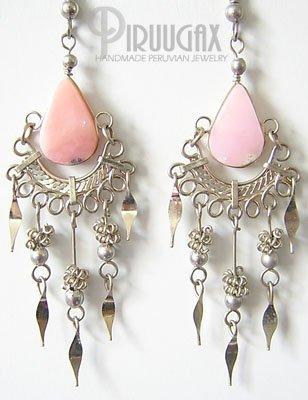 SWEET FLIRT Pink Opal Silver Chandelier Earrings