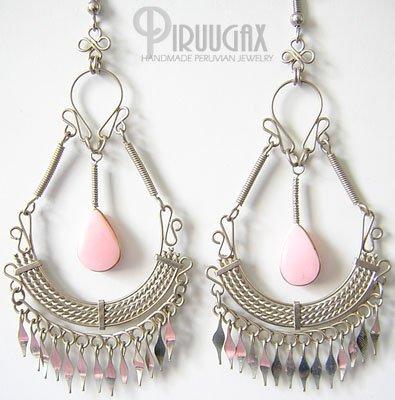 MISTS OF FABLE Pink Opal Silver Chandelier Earrings