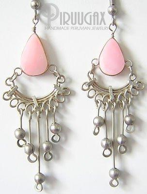 PINK MERMAID Pink Opal Silver Chandelier Earrings