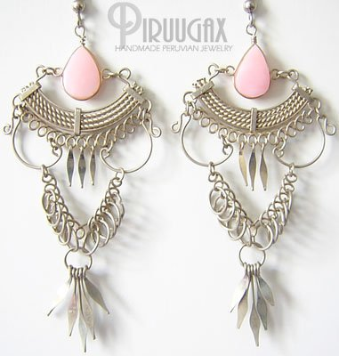 DIVINE Pink Opal Silver Chandelier Earrings