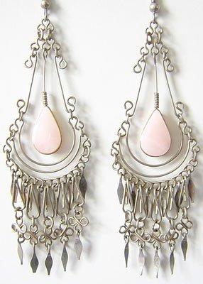 IMPERIAL Pink Opal Silver Chandelier Earrings