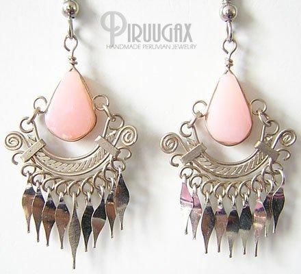INDIAN PRINCESS Pink Opal Silver Chandelier Earrings