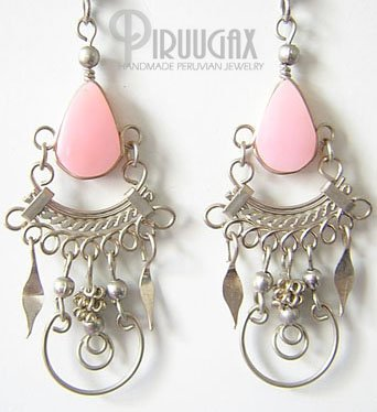 ENIGMA Pink Opal Silver Chandelier Earrings