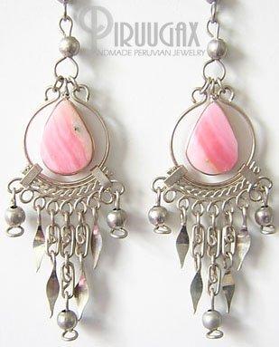 SLEEPING BEAUTY Pink Opal Silver Chandelier Earrings