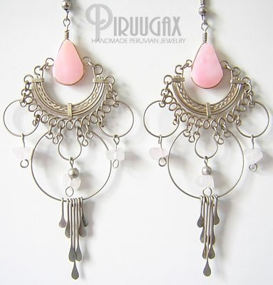 INDIAN PASSION Pink Opal Silver Chandelier Earrings