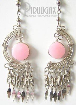 SECRET SANCTUARY Pink Opal Silver Chandelier Earrings