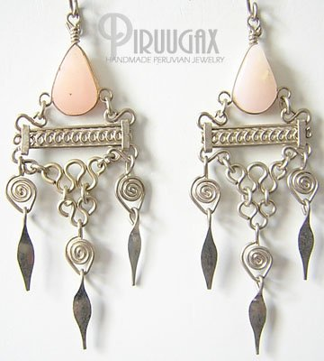 DELICATE Pink Opal Silver Chandelier Earrings