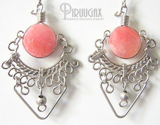 SERENITY Pink Opal Silver Chandelier Earrings