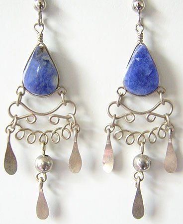 INDIAN SPIRIT Lapis Sodalite Silver Chandelier Earrings