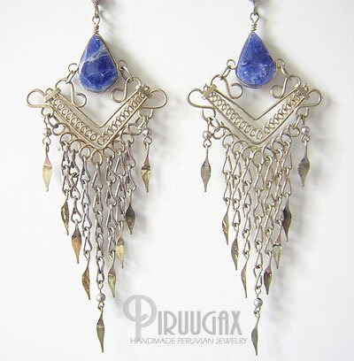 BLUE CASCADE Lapis Sodalite Silver Chandelier Earrings