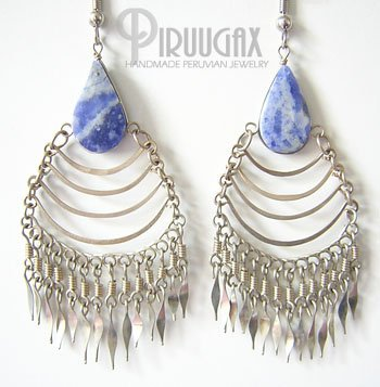 STONE WASH JEANS Lapis Sodalite Silver Chandelier Earrings