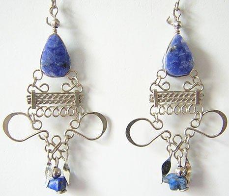 INDIAN BLUE Lapis Sodalite Silver Chandelier Earrings