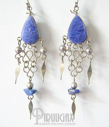 ENIGMA  Lapis Sodalite Silver Chandelier Earrings