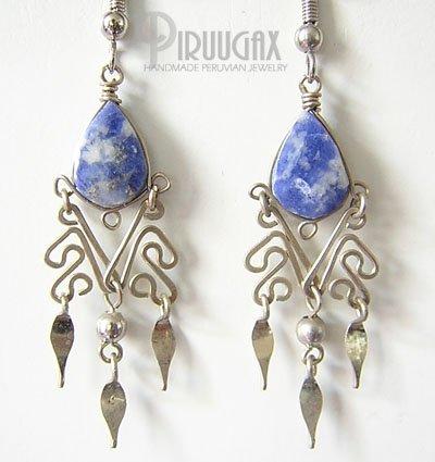 STONE WASH JEANS Lapis Sodalite Silver Chandelier Earrings
