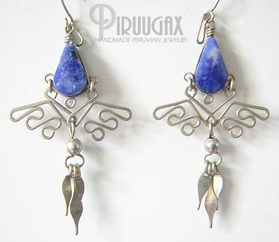 BLUE ICICLES Lapis Sodalite Silver Chandelier Earrings