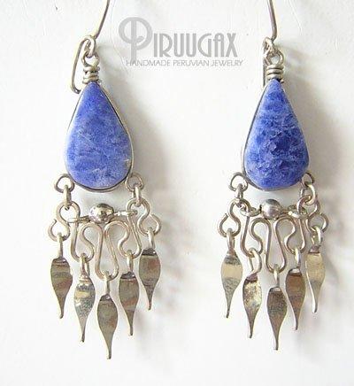 HEAVEN Lapis Sodalite Silver Chandelier Earrings