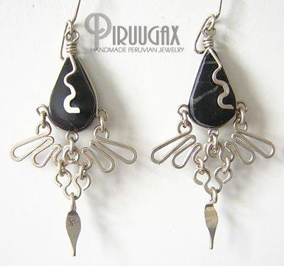 INDIAN CLOVER Black Obsidian Silver Chandelier Earrings