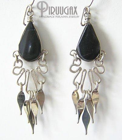 INDIAN SPIRIT Black Obsidian Silver Chandelier Earrings