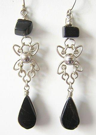 PACIFIC NIGHT Black Obsidian Silver Chandelier Earrings