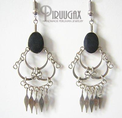 DANGLING SPIRALS Black Obsidian Silver Chandelier Earrings
