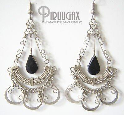 INDIAN FEATHERS  Black Obsidian Silver Chandelier Earrings