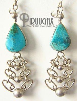 NATIVE TEARS Turquoise Silver Chandelier Earrings