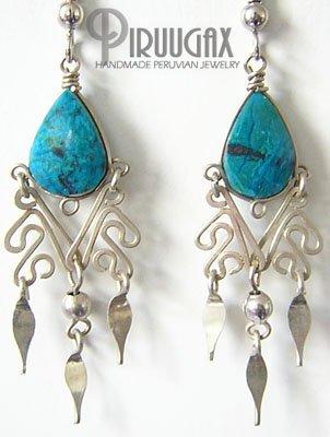 GREEN CLOVERS Turquoise Silver Chandelier Earrings