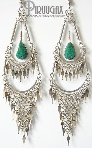 GIPSY QUEEN Turquoise Silver Chandelier Earrings