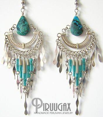 INDIAN DEITY Turquoise Silver Chandelier Earrings