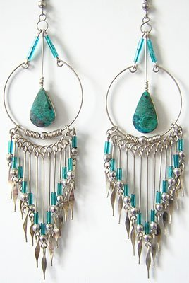 AMAZON SPIRIT Turquoise Silver Chandelier Earrings