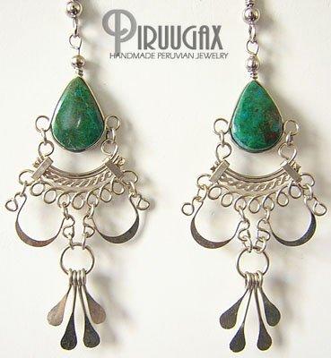 INDIAN ELIXIR Turquoise Silver Chandelier Earrings