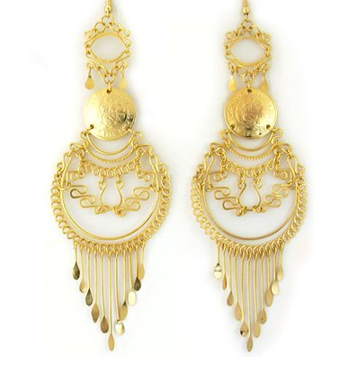 "ANDEAN LUXURY~ 6"" 24K Gold GP Coins Chandelier Earrings"
