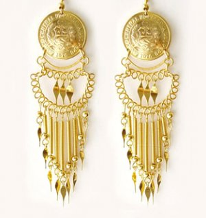 INCA TREASURE ~ 24K Gold Plated Vintage Coin Chandelier Earrings