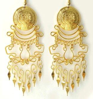 IMPERIAL BEAUTY ~ 24K Gold GP Coins Chandelier Earrings