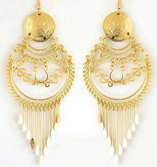 INCA SPLENDOR ~ LG 24K Gold GP Coins Chandelier Earrings