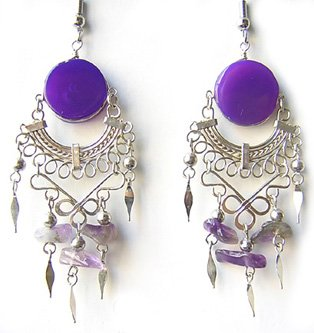 AMETHYST RAIN ~ LG PURPLE AGATE Gypsy Chandelier Earrings