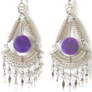 ANCESTORS ~ Purple Agate Silver Chandelier Earrings