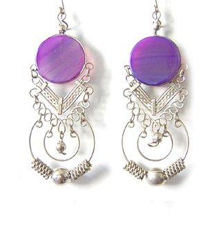 ANDEAN HOOPS ~ Purple Agate Silver Chandelier Earrings