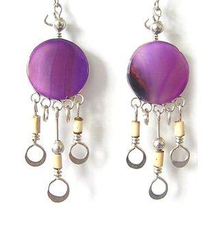 CAPRICE ~ Purple Agate Silver Bamboo Mini Chandelier Earrings