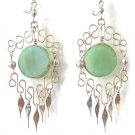 CRESCENT MOON ~ LG GREEN BRAZILIAN AGATE Gypsy Silver Chandelier Earrings