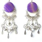 CROWN OF LOVE ~ Purple Agate Silver Chandelier Earrings