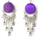 DAY BY DAY ~ Purple Agate Silver Chandelier Earrings