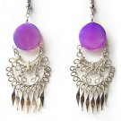 EGYPTIAN GODDESS~ LG PURPLE AGATE Gypsy Chandelier Earrings